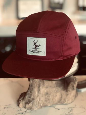 5 Panel Berry Hat with Grey Patch Logo Image