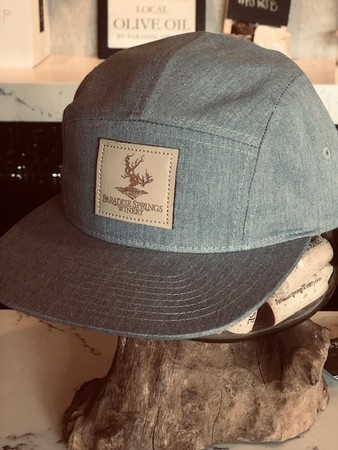 5 Panel Heather Grey Hat with Tan Patch Logo Image